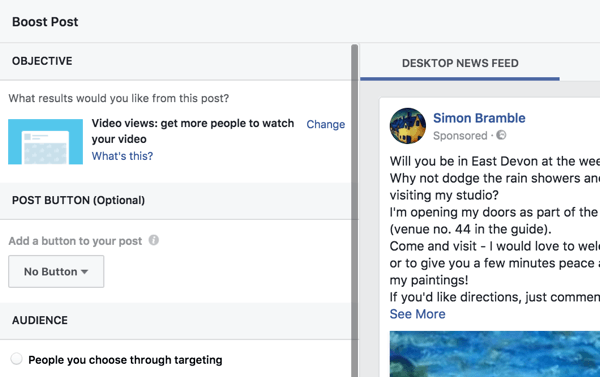 Facebook makes it easy to set up a boosted post by walking you through the options.