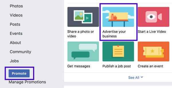 You can set up a Facebook local business promotion from the left sidebar or from the page post options.