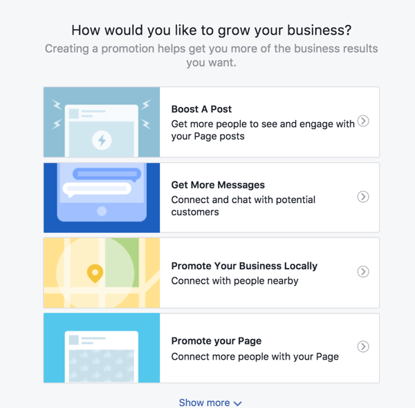 Choose the Promote Your Business Locally option to set up a local business promotion.