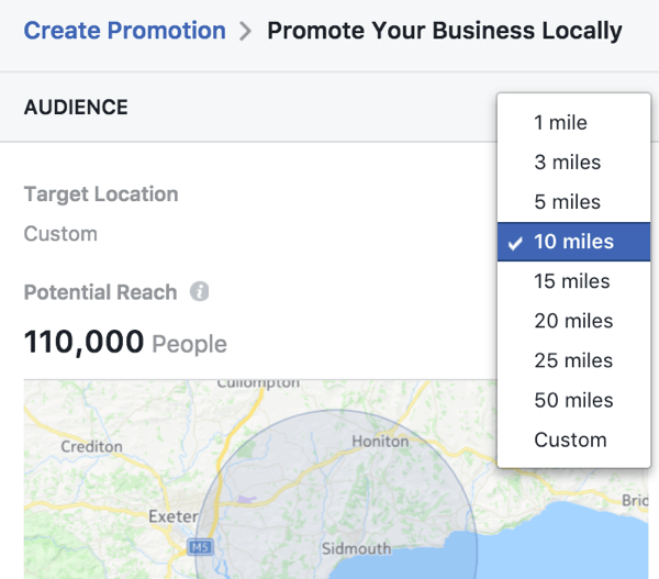You can choose a specific location for your local business promotion and customize the radius reached.