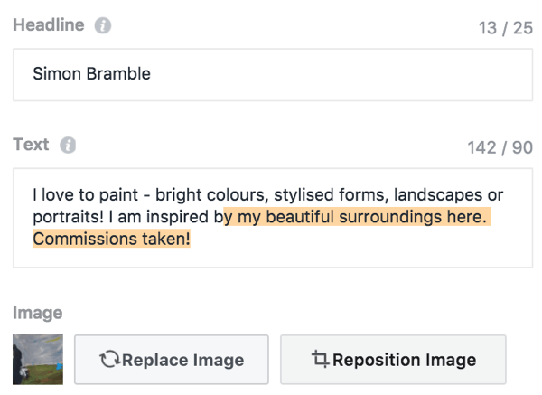 The text in your local business promotion creative is limited to 25 headline and 90 body characters.