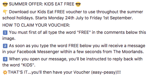 An independent restaurant used Facebook comments to offer a voucher to customers. The post's text tells customers how to claim the voucher.