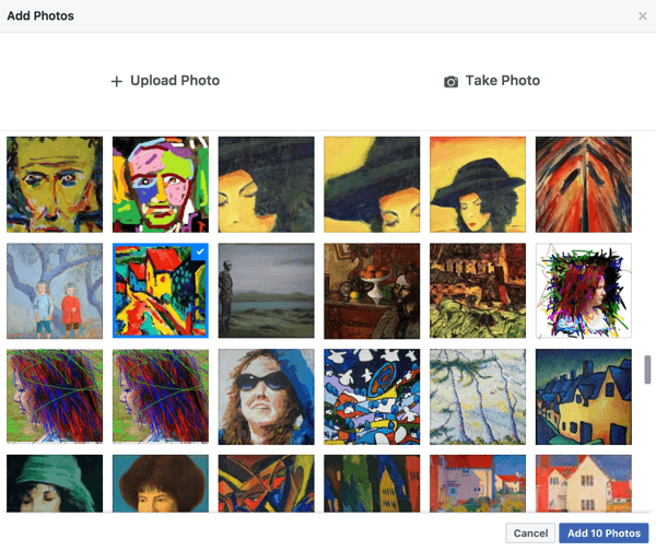 Facebook makes it easy to create a slideshow from photos you've already shared on your page.