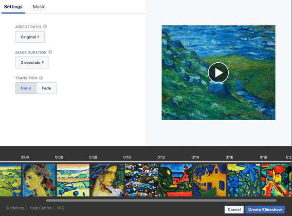 Edit image duration and transitions for your Facebook slideshow.