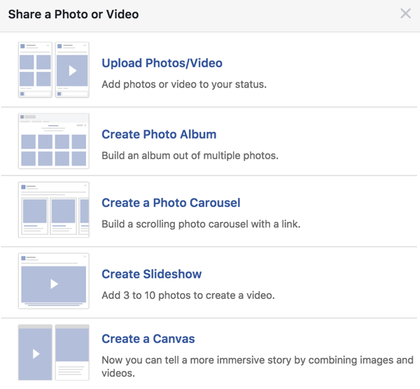 When creating a Facebook post to boost, don't always go with a single image; experiment with other media options too.