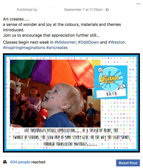 Boosting a post that includes your logo helps raise brand awareness and instill familiarity.