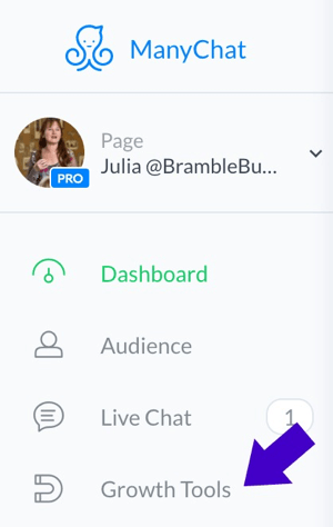 To create a Facebook comments promotion, first click on Growth Tools in the ManyChat dashboard.