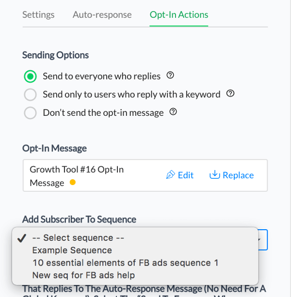 When new subscribers engage with your Facebook Messenger bot, you can add them to a sequence.