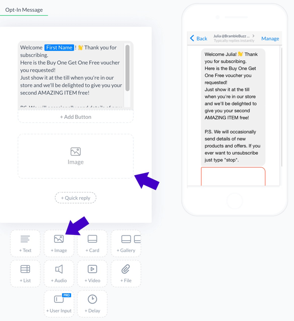 Customize the new subscriber welcome message and attach a voucher as an image. Check the preview to ensure that the message looks okay.