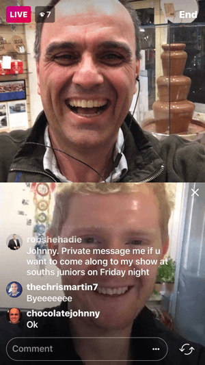 Having a guest on your Instagram live video splits the screen into two squares with the host in the top video screen.