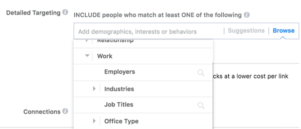 Facebook offers detailed targeting options based on your audience's work.
