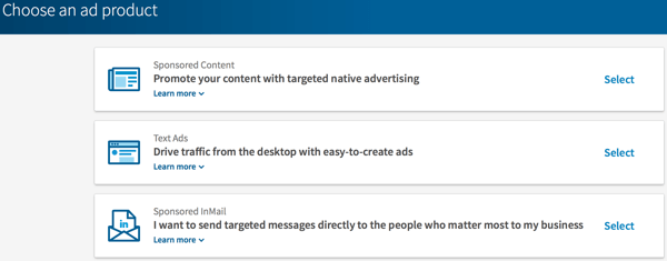 Choose the type of LinkedIn ad you want to create.