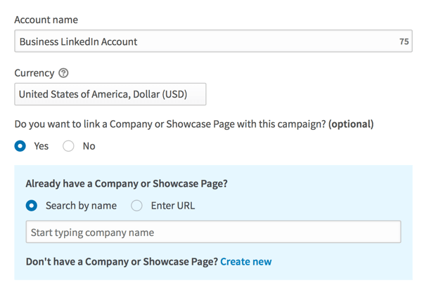 Fill in details to set up your LinkedIn advertising account.