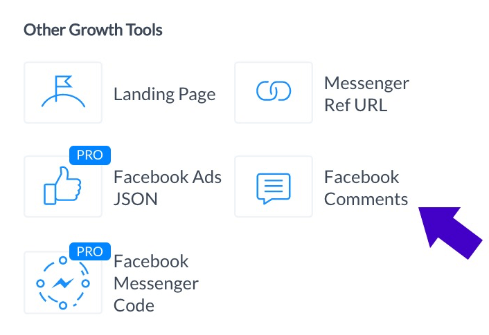 The Facebook Comments tool is included with a free ManyChat account.
