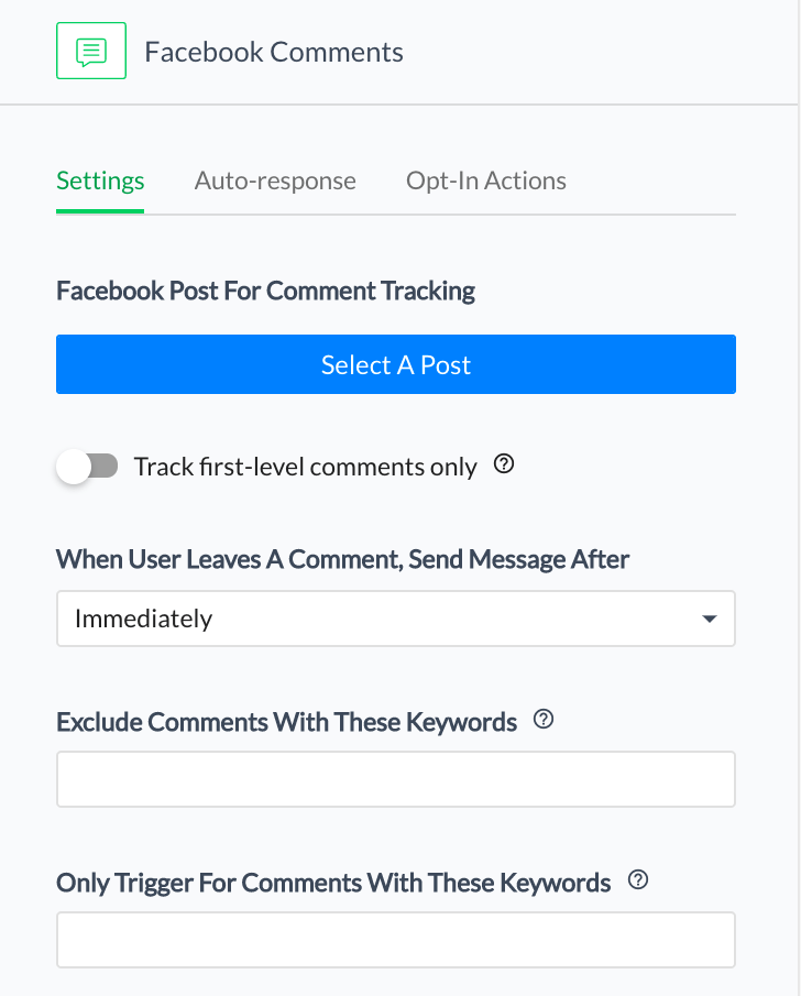 Choose your Facebook post and enter the keyword that users will type in the comments to trigger the bot.