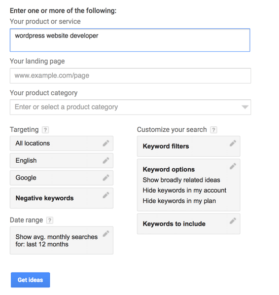 Type in your search term and click Get Ideas.