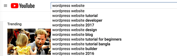 Check YouTube search for keyword suggestions.
