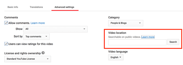 Add a location to your YouTube video to make it geographically searchable.