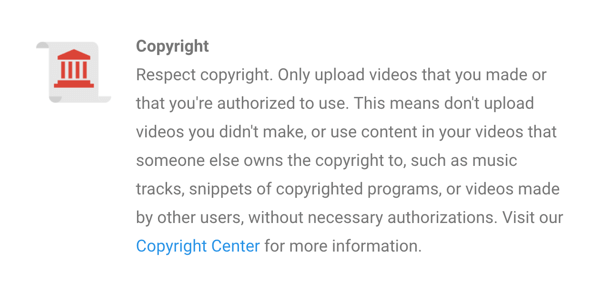 YouTube's copyright policy is clearly stated.