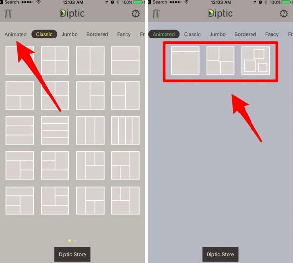 U kunt maximaal acht foto's en video's toevoegen aan een Diptic-diavoorstelling.