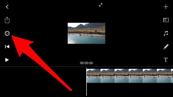 Tik op het instellingenpictogram om de achtergrond in Filmmaker Pro te wijzigen.