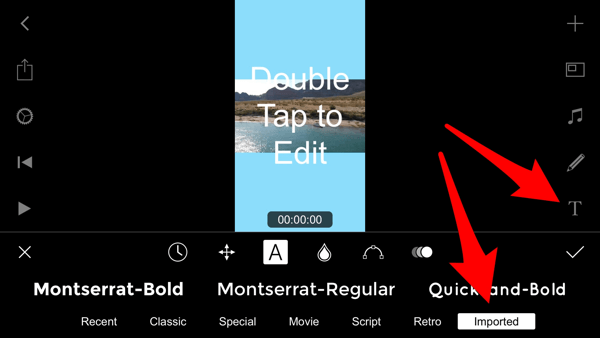 Tap the Text icon to access your custom fonts in Filmmaker Pro.
