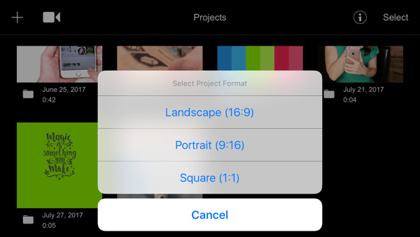 Filmmaker Pro allows you to edit landscape, portrait, and square video clips.