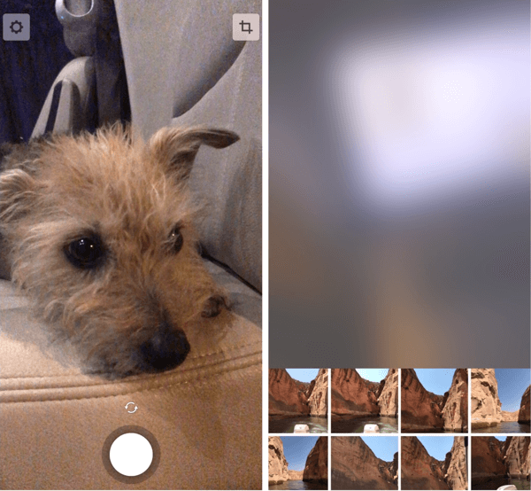Record a video (left) or select content from your camera roll (right).