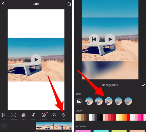 Tap the photo icon to insert a photo from your camera roll into the background.