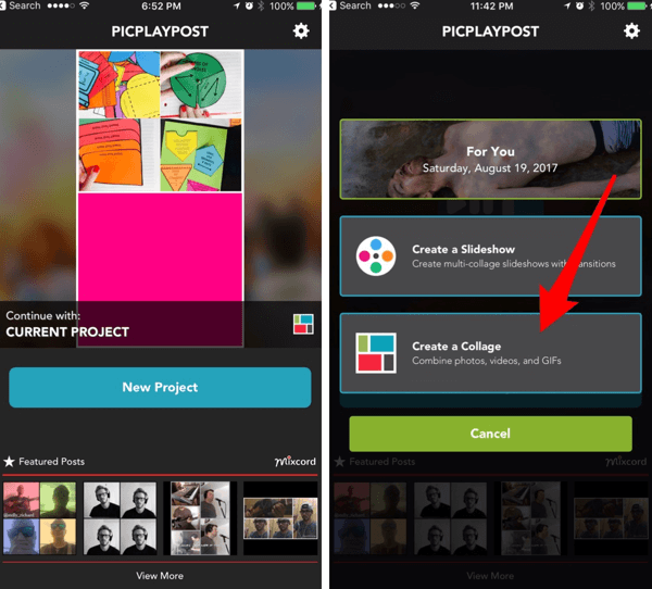 Create slideshows or collages with the PicPlayPost app.