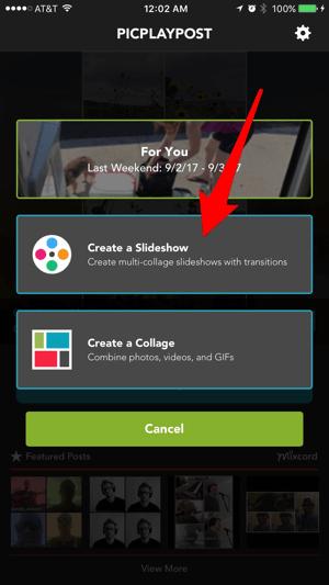 Maak collage-diavoorstellingen met de PicPlayPost-app.