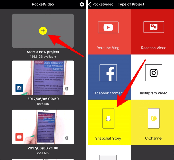 Tap Snapchat Story to create content for your Instagram story.