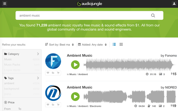 Search through AudioJungle's robust library of royalty-free music and audio tracks starting at $1.