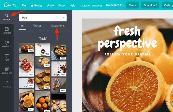 Use the search bar to find photos and illustrations right in the Canva dashboard.