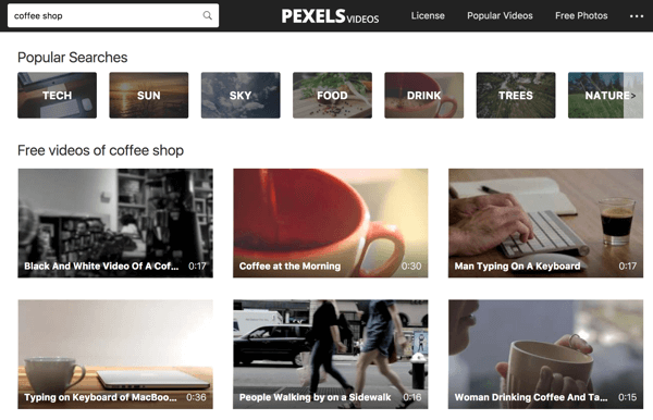 Pexels Videos makes it easy to do a keyword search for video footage.