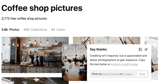 After you've downloaded an image, Unsplash will suggest you say thank you by giving credit to the photographer.