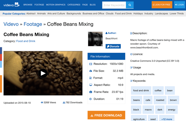 Videvo's simple interface makes it easy to search for footage based on keywords.