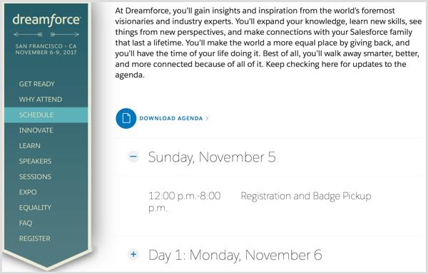 dreamforce event website schedule