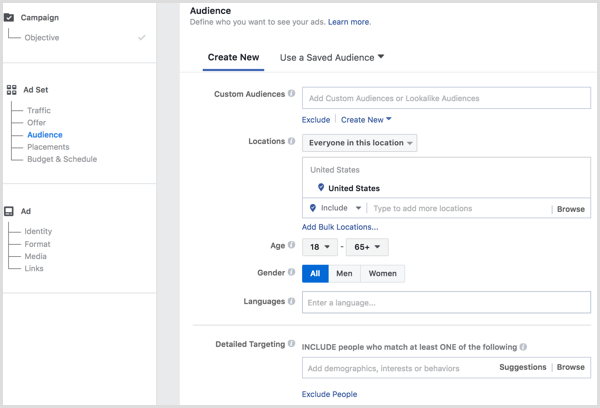 Facebook ads manager create audience in ad set