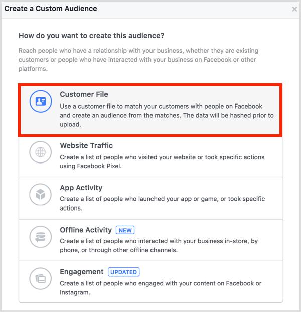 Facebook ads manager create custom audience