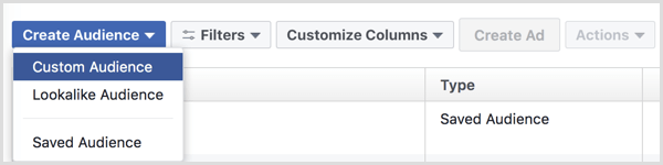 Facebook ads manager create custom audience