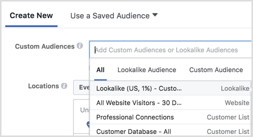 Facebook ads manager create lookalike audience