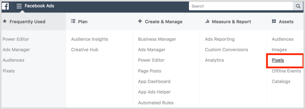 Facebook ads manager create pixel