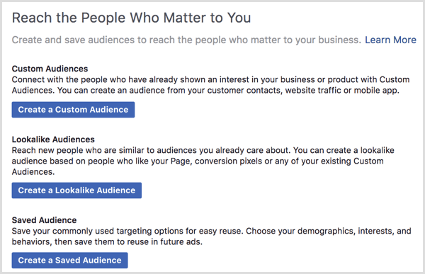 Facebook ads manager create saved audience