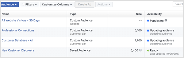 Facebook ads manager create website custom audience