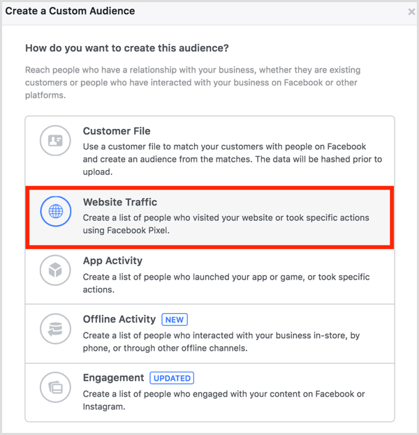 Facebook ads manager create website custom audience