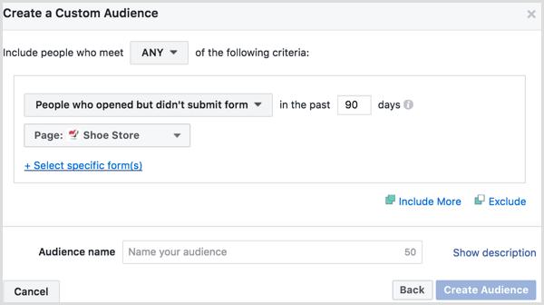 Facebook ads manager custom audience engagement