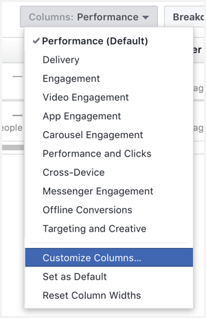 facebook ads manager customize columns