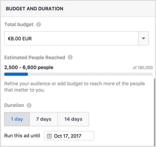 facebook boosted post budget