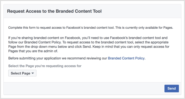 Facebook branded content tool request access